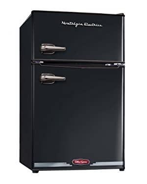 Nostalgia Electrics RRF325HNBLK Retro Series 3.0-Cubic Foot Compact Refrigerator