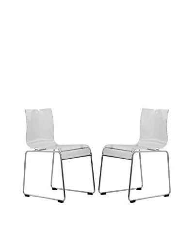 LeisureMod Set of 2 Lima Modern Acrylic Chairs Clear