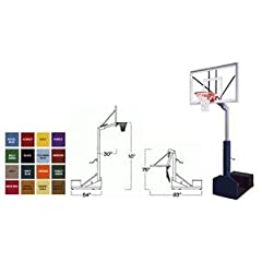 First Team Rampage Nitro Portable Basketball Hoop with 60 Inch Glass Backboard Color:...