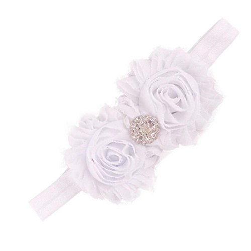 [Baishitop Baby Girls Headbands, Vintage Burr Flower Elastic Headbands For Baby Girls (White)] (Glitter Wigs)