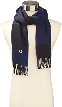 Fred Perry Men's Oversized Check Scarf, Black/Dark Carbon, One Size