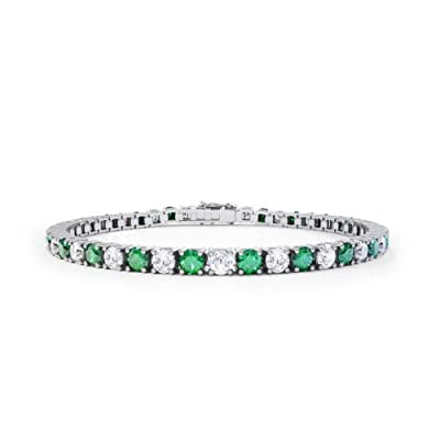 Stardust Emerald and Diamond Silver Tennis Bracelet (WHITE GOLD)