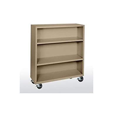 "Sandusky Lee BM20361842-04 Elite Series Welded Mobile Bookcase, 18"" Length x 48"" Height x 36"" Width, Tropic Sand"