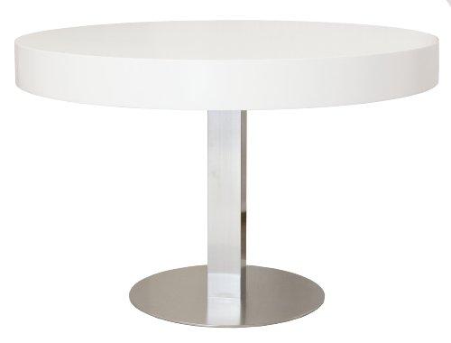 4820-001 Bloc - Designer Esstisch rund, Tischplatte 12 cm Wabe mit MDF-Beschichtung, Edelstahluntergestell, Höhe: 77 cm, o 120 cm, weiß / lackiert matt