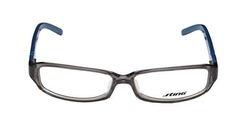 Sting 6332 Womens/Ladies Designer Full-rim Eyeglasses/Glasses (53-13-135, Clear Gray / Blue) (Green Ranger Morph Suit)