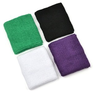 4 pair of COSMOS ® Black White Green Purple cotton sports basketball wristband... by Cosmos