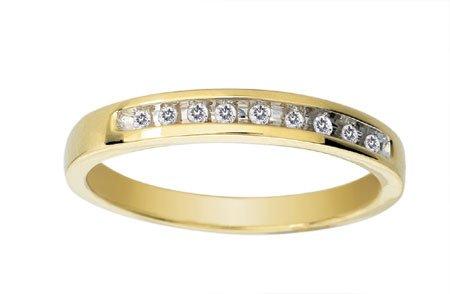 Modern 9 ct Gold Women Half Eternity Diamond Ring Brilliant Cut 0.10 Carat HI-SI3-I1