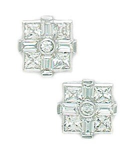 14ct White Gold CZ Big Princess Baguette Cut Square Fancy Post Earrings - Measures 10x10mm