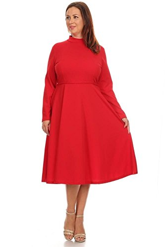 Womens Short Sleeve Knit Fit and Flare Crew Neck Pleated Bottom Plus Size Dress, Long Sleeve Red, 2X Plus
