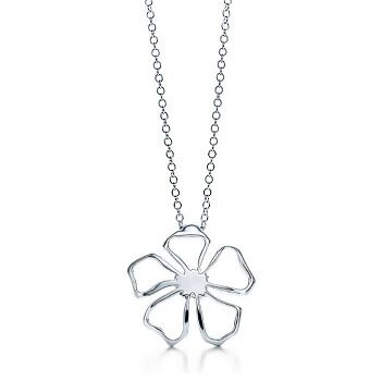 Designer Inspired Sterling Silver Flower Necklace Pendant 18