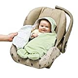 Goldbug Hooded Swaddle Wrap, Green, with Built-in Feet for Easy Buckle-in to Carrier