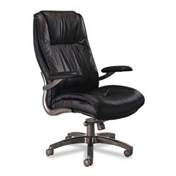 Mayline Group ULEXBLK Executive High-Back Chair, 31 in.x32 in.x48-51 in., Black Leather
