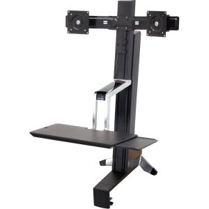 Ergotron WorkFit-S 33-341-200 Dual Sit-Stand Workstation - Steel, Plastic, Aluminum - Black