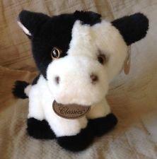 Applause Russ Floral Black & White Cow Plush Stuffed Animal 6