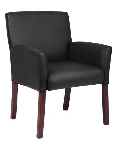 Boss Executive Box Arm Chair W/Mahogany Finish Guest Seating