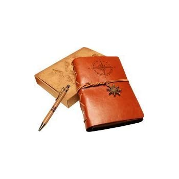 Classic Refillable Writing Journal (Naval Compass Embossing) - Vintage Leather (PU) Design- Includes Bamboo Pen