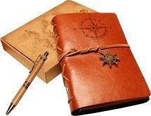 Classic Refillable Writing Journal (Naval Compass Embossing) - Vintage Leather (PU) Design- Includes Bamboo Pen 0