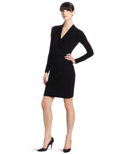 KAMALIKULTURE Women's Long Sleeve Side Draped Dress, Black, X-Small