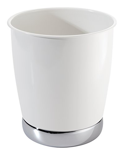 Mdesign wastebasket trash can with facial tissue box cover for Bathroom wastebasket sets