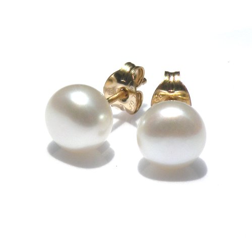 6.0-6.5 MM White Freshwater Pearl Stud Earrings