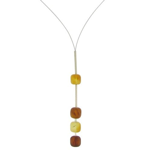 Les Poulettes Jewels - Baltic Amber Pearls Necklace on Cable - 4 Amber Nuanced Colors Pearls