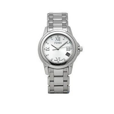 Fendi Loop Medium Round Silver Dial and Bracelet Quartz Watch - F235360