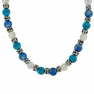 """Genuine Mother of Pearl, Denim Lapis, and Reconstituted Turquoise Silver Bali Bead Necklace 16-18"""""""