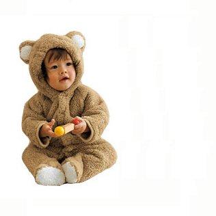 【ノーブランド品】赤ちゃん おくるみ 着ぐるみ うさぎ・ひつじ・くま 73cm 80cm 90cm カバーオール ロンパース (90, くま)