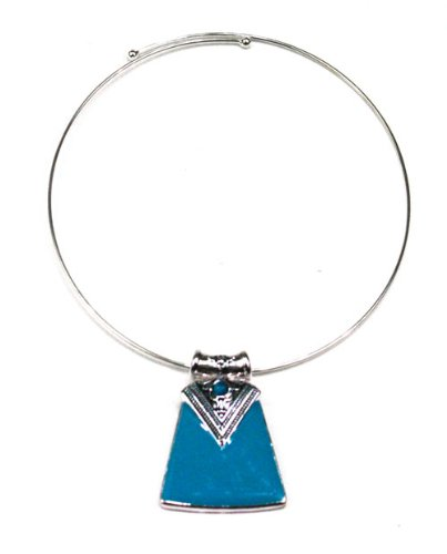 Silver-plated Blue Enameled Lotus Flower Pendant Choker,' Blue Armor'
