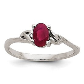 Genuine IceCarats Designer Jewelry Gift 14K White Gold Ruby Birthstone Ring Size 7.00
