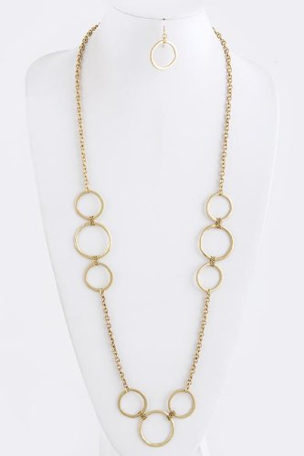 Trendy Fashion Jewelry Multi Circle Link Necklace Set By Fashion Destination | (Matted Gold)