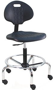 """Benchpro Lct-Uc-Aa Deluxe Polyurethane Cleanroom Lab Chair/Workbench Stool With Chrome Base And Adjustable Armrest, 300 Lbs Capacity, 18.5"""" Width X 21-29"""" Height X 18"""" Depth front-133193"""