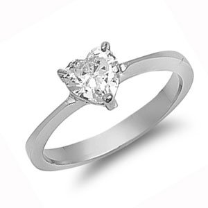 Ladies Stainless Heart CZ Engagement Ring Size 5