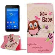 Lovely Cartoon New Baby Owl Pattern Horizontal Flip Leather Case with Holder Card Slots Wallet for Sony Xperia E4