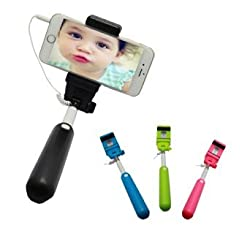 [New Version Fashion Wire Monopod Selfie Stick] BenGoo Extendable No Charger No Bluetooth 3.5mm Wired Remote Control Cable Control Selfie Stick Selfie Handheld Stick Monopod Extendable Handheld Pole Holder with Adjustable Pho