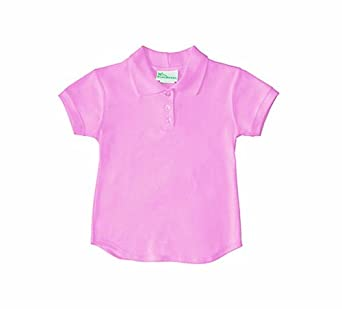 Girls School Uniform Top Pink Cap Sleeve Fitted Polo Shirt 10/12