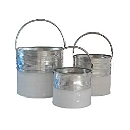 Cheungs Home Decorative Accent Set of 3 Galvanized Half White Bucket With Handles