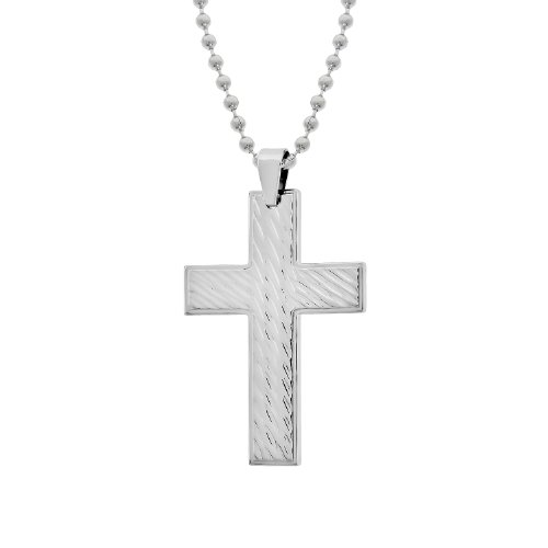 Men's Stainless Steel Textured Cross Pendant Necklace, 22