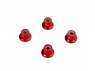 Luxury RC 4mm Red Serrated Wheel Lock Nuts (Set of 4) for Traxxas Axial Racing HPI Racing TLR and ECX Vehicles