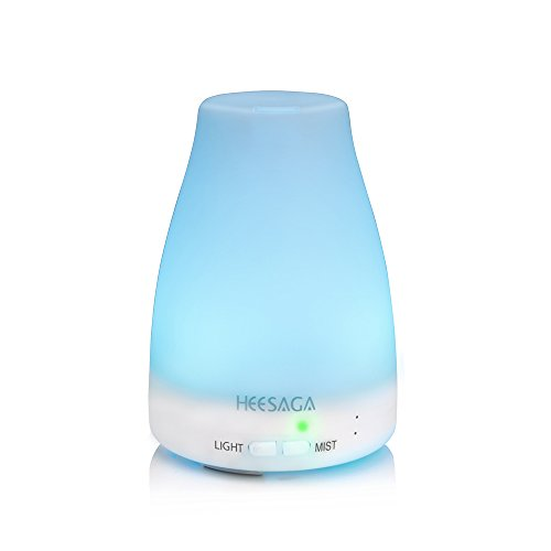 HEESAGA Aromatherapy Essential Oil Diffuser, 120ml Portable Ultrasonic Cool Mist Aroma Humidifier with 7 Changing Colored LED Lights, Waterless Auto Shut-off and Adjustable Mist mode
