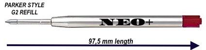 Lot de 12 recharges de stylos à bille compatibles avec Parker Rouge