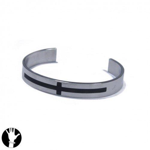 SG Paris Rigid Bracelet Steel 316L Steel Black Noir/Jet Bracelet Rigid Bracelet Stainless Steel The Essential Man Hom-Actua The Essential Cross