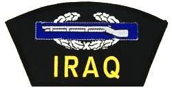 """IRAQ COMBAT INFANTRYMAN BADGE BLACK PATCH(Can be sewn or ironed on jacket or hat) Patch 3""""x5"""""""