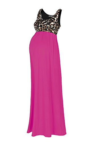 Beachcoco Women's Maternity Sleeveless Maxi Empire Waist Printed Tank Dress(M, Hot Pink) (Hot Pink Maxi Dress compare prices)