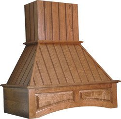 Omega National 36 Inch W Nantucket Wooden Wall Chimney Range Hood, 260-650 Cfm, Arched Valence, Unfinished, Cherry