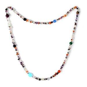 TJC Multi gem Agate,Tigers Eye,Black Onyx,Paraiba Opal Necklace Sz 36 Inch