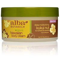 Alba Botanica Hawaiian Body Cream, Kukui nut, 6.5-Ounce Jar