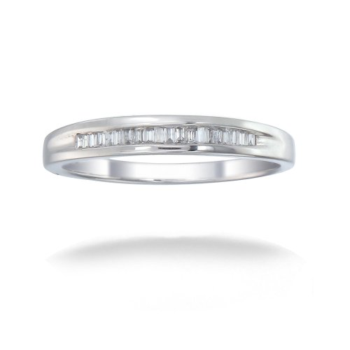 1/4 CT Baguette Cut Diamond Wedding Band 14K White Gold (I1-I2 Clarity) (Available In Sizes J - T)