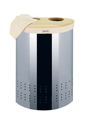 Brabantia Selector Laundry Bin, 40 Litre, Woodline and Brilliant Steel