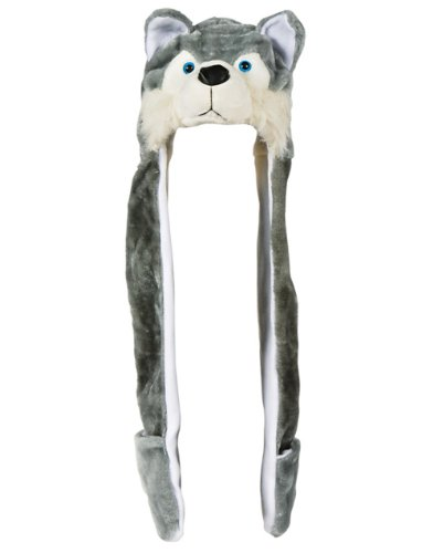 Plush Wolf Hat Novelty Cap Animal Costume Beanie With Long Paws